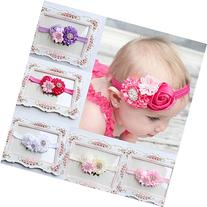 FEITONG 5PC Baby Girls Elastic Headband Rose Flower
