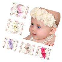 FEITONG 5PC Babys Girls Elastic Headband Chiffon Flower