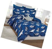 Fancy Collection 6 Pc Kids/teens Shark Blue Grey Design