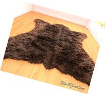 Faux Fur Rug Bearskin Brown Grizzly Accent Area Shaggy Rug 5