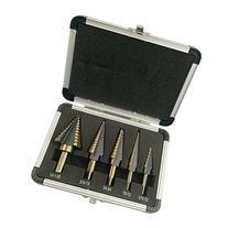 FeelGlad5pcs Titanium Step Drill Bits Set with Aluminum Case