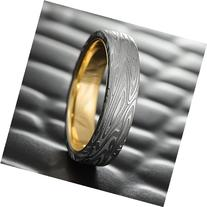 Flat Damascus Steel Men's Wedding Band with 14K Gold Liner