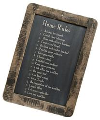 Framed Home Rules Blackboard - Primitive Country Rustic