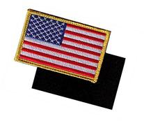 Full Color US Flag Embroidery Patch with Hook/Loop Backing