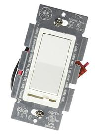 GE Dimmer, 3-Way, Rocker On/Off with Slide, White 18023
