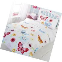 GIRLS TWIN FLORAL BUTTERFLY WHITE RED BLUE COTTON DUVET SET