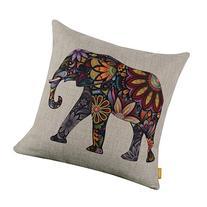 Generic Bright Color Flower Elephant Burlap Pillow Cases