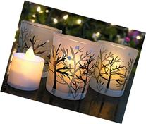 Glittery Winter Trees and Snow Set of 3 Frosted Glass