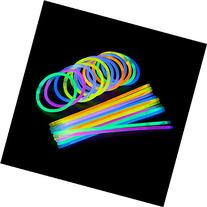 100 Count Bulk Assorted Glow Sticks in 5 Vibrant Shades , 8