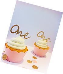Gold Glitter One Cupcake Toppers - party supplies