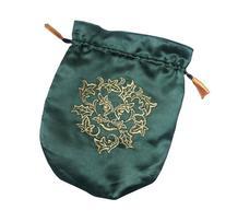 Green Satin Green Man Tarot / Rune Bag