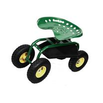 Green/red Garden Cart Rolling Work Seat with Heavy Duty Tool