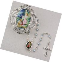 Guardian Angel Blue Rosary with Box Baptism Christening