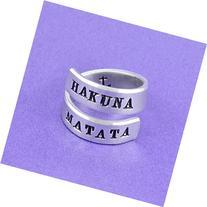 Hakuna Matata - Hand Stamped Aluminum Spiral Wrap Ring, Lion