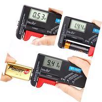 HDE Universal Digital Battery Tester - For AA/AAA/C/D/9V &
