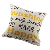 HOSL You Are My Sunshine Cotton Linen Pillow Cover, 17.3 x