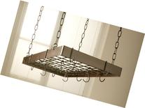 Hammered Copper Rectangle Pot Rack with Black
