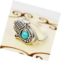 Hamsa Hand and Turquoise Howlite Gemstone Wire Wrapped Ring