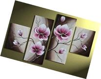 Hand-painted Wood Framed Beautiful Purple Flower High Q.