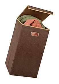 Fold Away Clothes Laundry Hamper with Lid - Appealing coffee