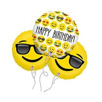 Happy Birthday Too Cool Assorted Emoji Mylar Balloon 3pk