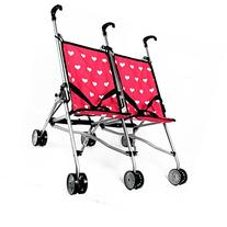 Hearts Doll Twin Stroller for Kids - Doll Stroller Folds for