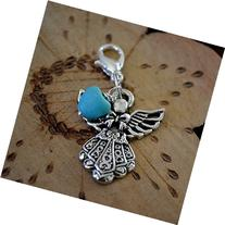 Heavenly Guardian Angel Turquoise Heart Clip on Charm