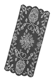 """Heritage Lace Sugar Skulls Table Runner, 18"""" by 44"""", Pewter"""