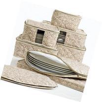 Homewear 8-Piece Hudson Damask China Storage Container Set,