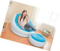 Intex Inflatable Colorful Cafe Chaise Lounge Chair + Ottoman