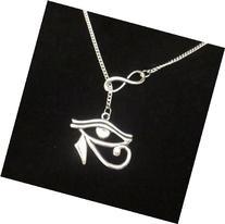 Infinity Eye Of Horus lariat necklace, amulet protection