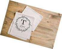 Initial with Wreath Table Runner, home decor, present,