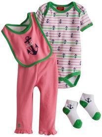 Izod Baby-Girls Newborn Girl 4 Piece Deluxe Set-Hot Pink, 0-