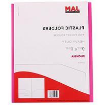 JAM Paper Heavy Duty Plastic 2-Pocket Folder - Fuchsia Pink