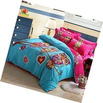 Joubuy Home Textile Cute Owl Love Bedding Owl Bedding for