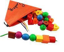 JUMBO PRIMARY STRINGING BEAD SET by Skoolzy with 36 Lacing