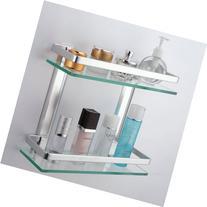 KES Bathroom 2-Tier Glass Shelf with Rail Aluminum and Extra