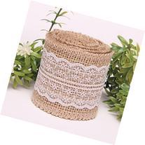 KINGLAKE 2M Natural Jute Burlap Ribbon with Lace for Craft