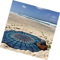 Labhanshi Indian Mandala Round Roundie Beach Throw Tapestry