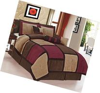 Legacy Decor 7 Piece Brown & Burgundy Micro Suede Patchwork