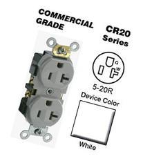 Leviton CR20-W Duplex Receptacle Commercial Grade 5-20R 20A