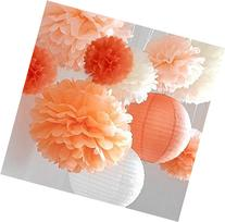 "Pom Poms -12Pcs of 10"" 12"" 14"" Multi-Colors Tissue Paper"