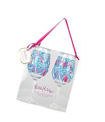 Lilly Pulitzer Acrylic Wine Glass Set, Red Right Return,