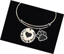 Live Love Rescue Paw Print with Heart Charm on a Silver