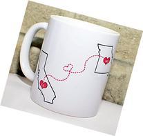 Long Distance State Coffee Mug - BFF Coffee Mug - Custom