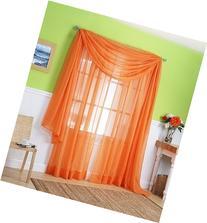 LuxuryDiscounts Beautiful Elegant Solid Orange Sheer Scarf