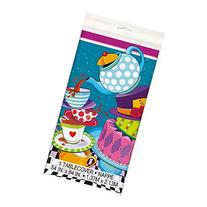 "Mad Hatter Tea Party Plastic Tablecloth, 84"" x 54"