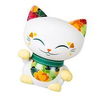 Mani the Lucky Cat Maneki Neko Fortune Cat White - Green