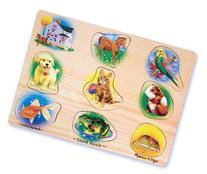 Melissa & Doug Pets Sound Puzzle - Wooden Peg Puzzle With