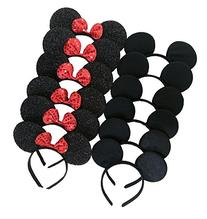 Mickey Mouse Ears Solid Black and Bow Minnie Headband for